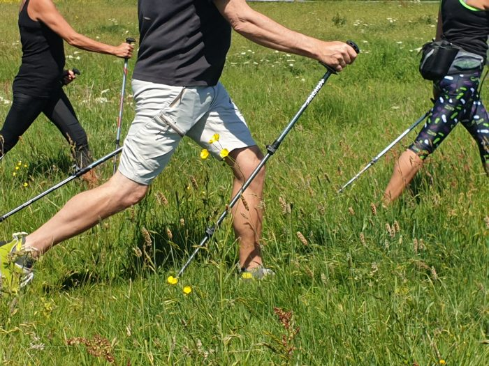 Instructor teaching Power of Poles nordic walking induction
