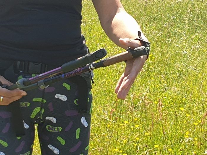 WALX Instructor demonstrates nordic walking pole straps