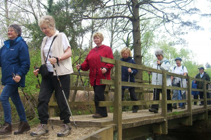 Nordic nutters walking on a bridge